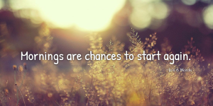 Mornings are chances to start again.
