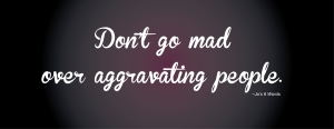 Don't go mad over aggravating people.