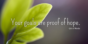 Your goals are proof of hope.