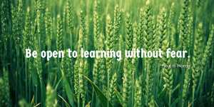Be open to learning without fear.