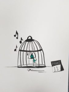 bird singing in cage